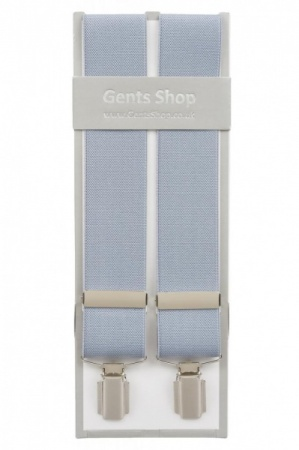 Plain Light Grey Mens Elastic Trouser Braces With Silver Coloured Feather Edged Clips - Available In 3 Sizes
